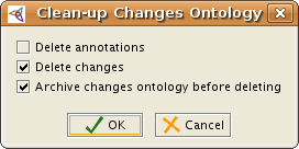 The dialog that comes up when selecting Clean-up Changes ontology from the Changes menu